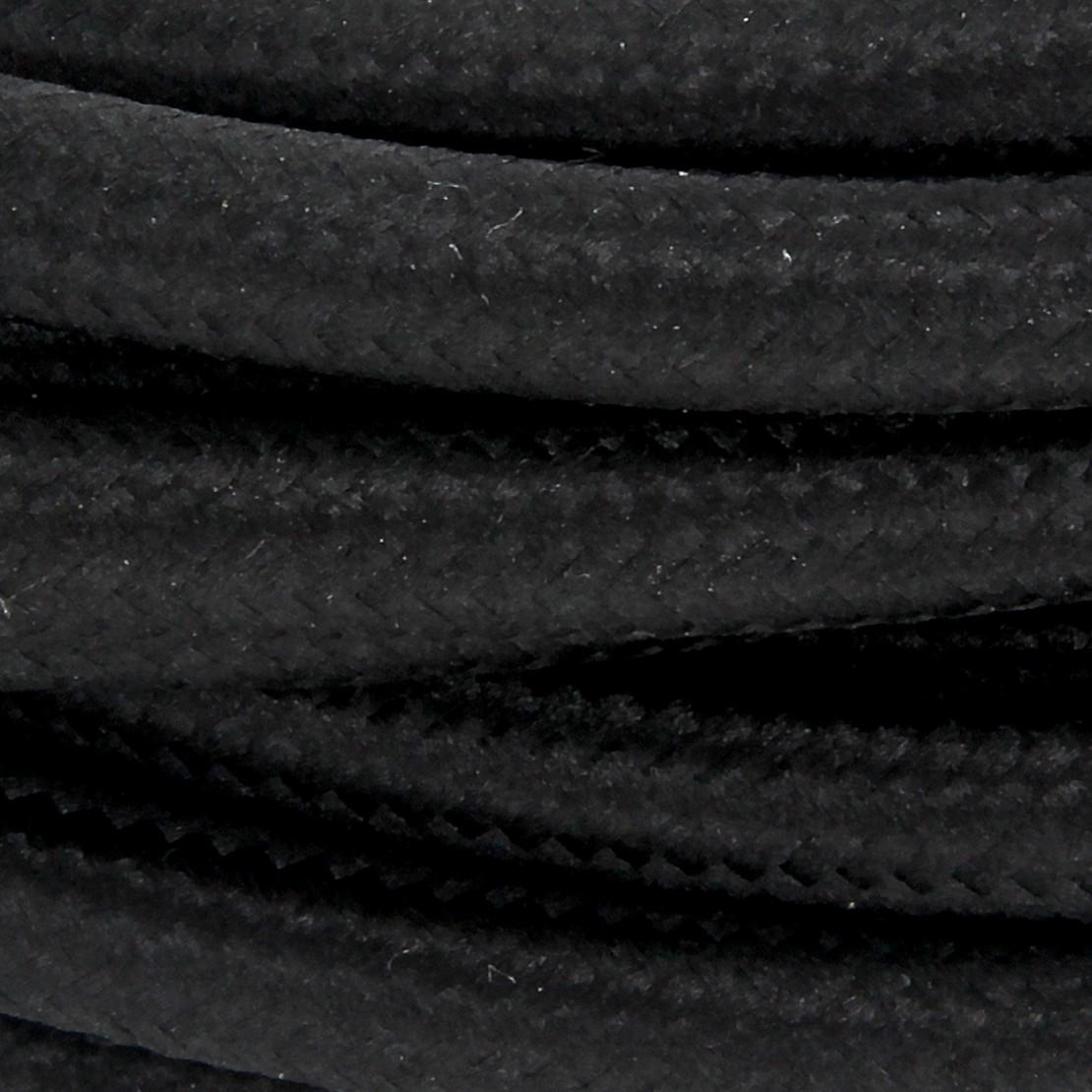 Cordon HO3VVH2-F  2 x 0,75mm2 avec interrupteur - 2 m - text ile noir