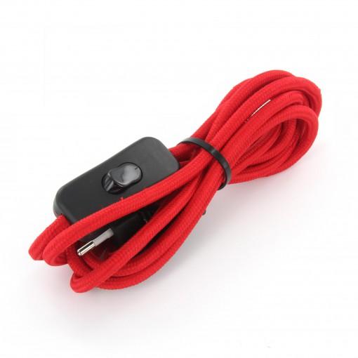 Aansluitsnoer HO3VVH2-F  2 x 0,75mm2met schakelaar - 2 m - rood
