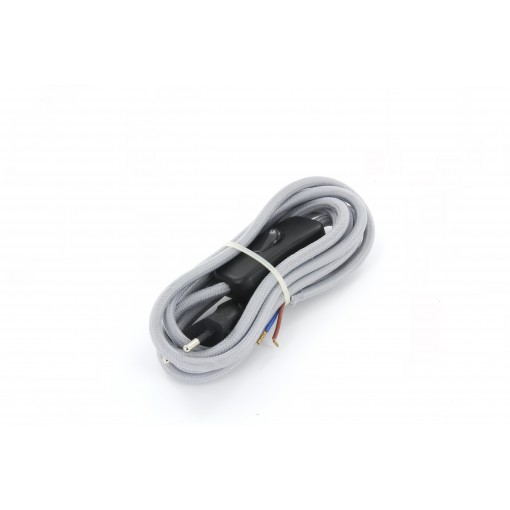 Aansluitsnoer HO3VVH2-F  2 x 0,75mm2met schakelaar - 2 m - grijs