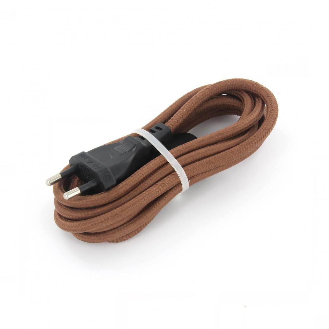 Cables textil con interruptorEHO3VVH2-FE 2 x 0,75mm2 2 m Marron