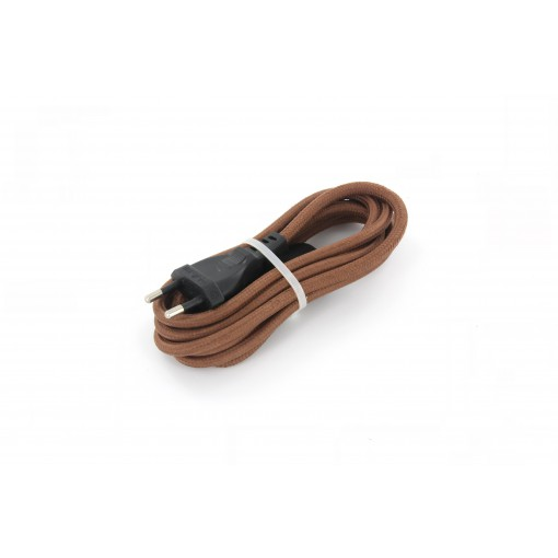 Cables textil con interruptorEHO3VVH2-FE 2 x 0,75mm2 2 m Marron