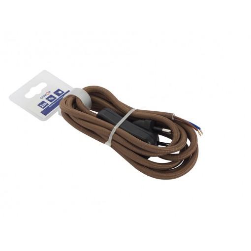 Aansluitsnoer HO3VVH2-F  2 x 0,75mm2met schakelaar - 2 m - bruin