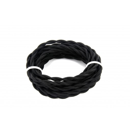 Cables textil trenzado HO3VV-FE 2 x 0,75mm2 3 m Negro