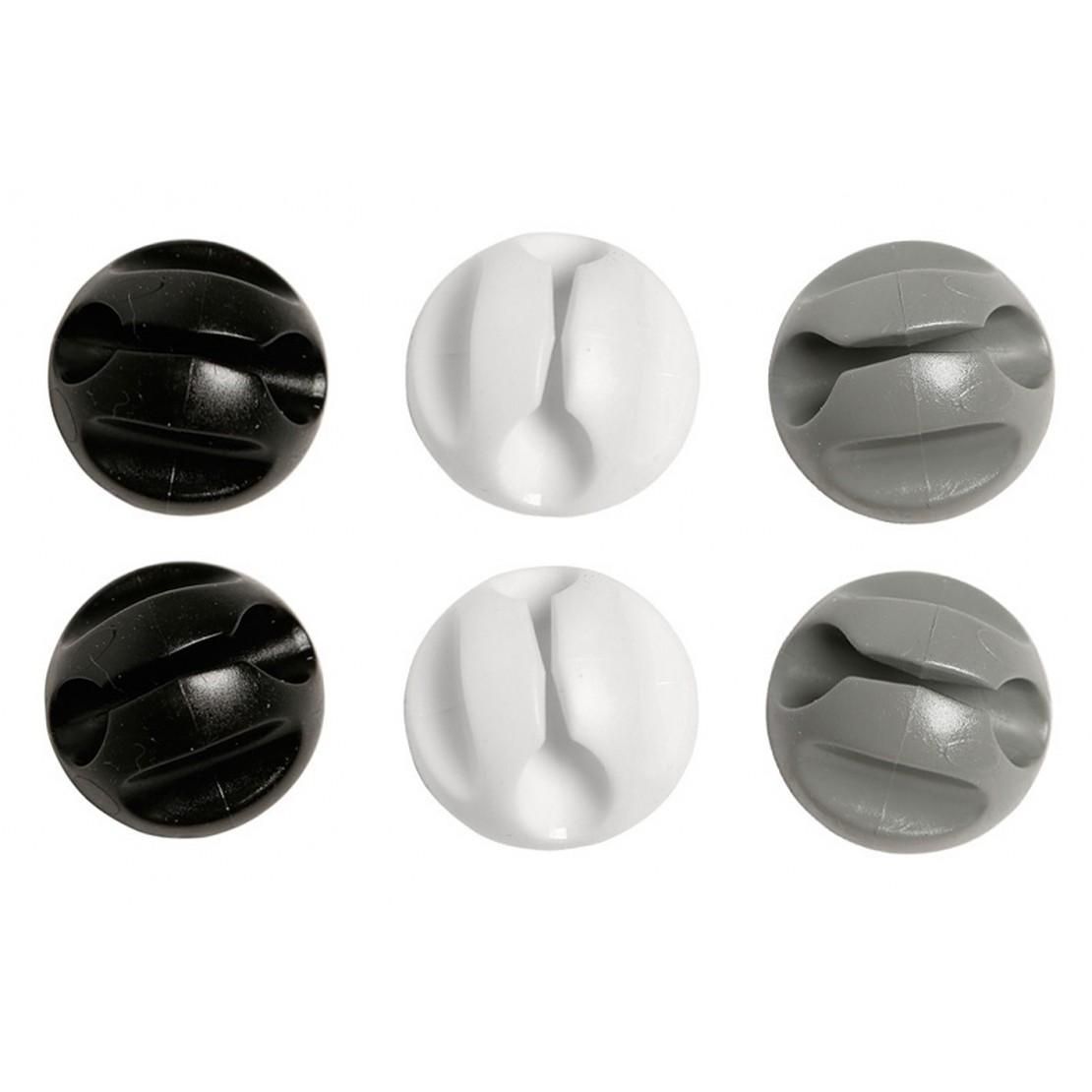 Bouton attaches câble 2x noir, 2x gris, 2x blanc