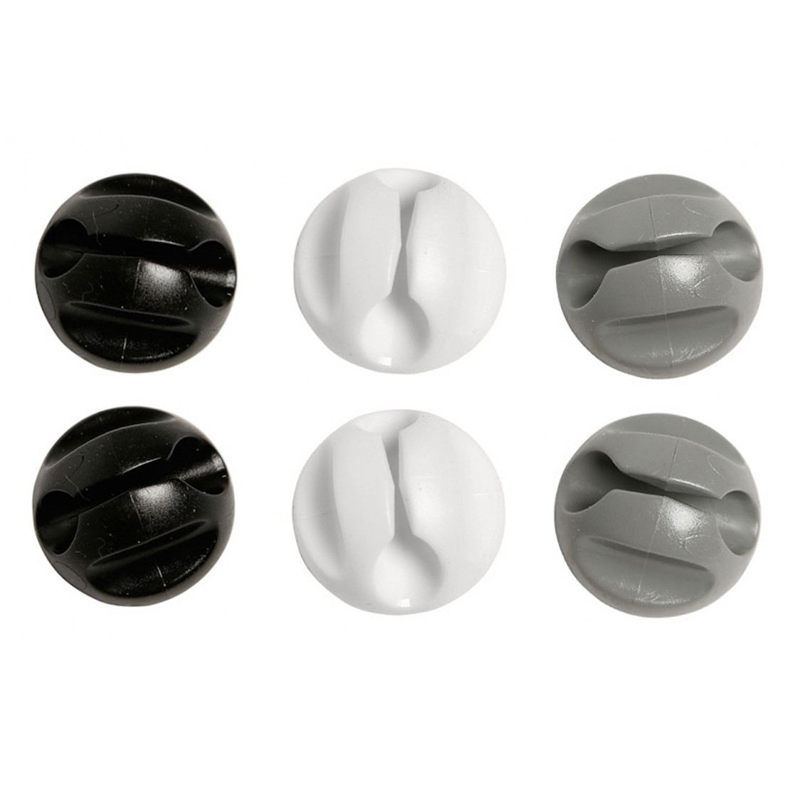 Bouton attaches câble 2x noir, 2x gris, 2x blanc