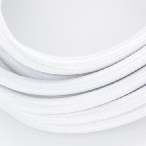 Stoffen snoer met schakelaar, wit, 2 x 0,75 mm2