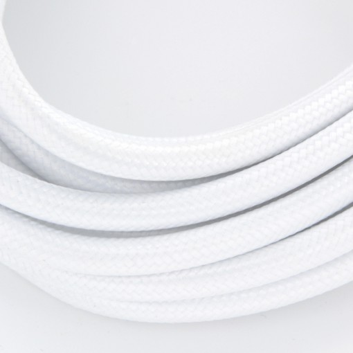 White fabric cable with switch, 2 x 0.75 mm2
