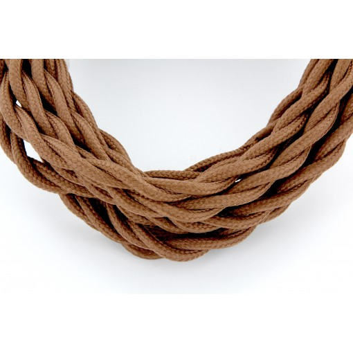 Câble HO3VV-F  2 x 0,75mm2 tor sadé - 3 m - textile brun