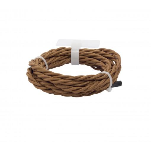 Cables textil trenzado HO3VV-FE 2 x 0,75mm2 3 m Marron