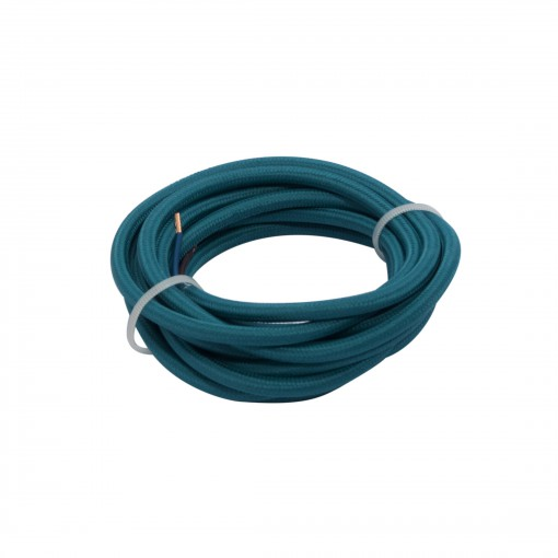 Cables textil HO3VV-FE 2 x 0,75mm2 3 m Pavo real azul