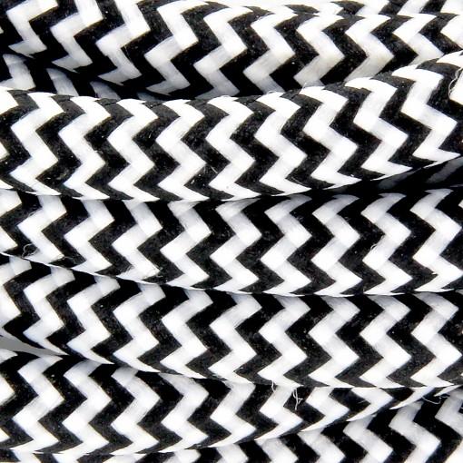 Câble HO3VV-F  2 x 0,75mm2 - 3 m - textile noir/blanc