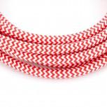 Câble HO3VV-F  2 x 0,75mm2 - 3 m - textile rouge/blanc