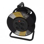 Kabelhaspel 4 x 16A met vastestekkersHO5VV-F 3 x 1,0mm2 - 25m (SCH)