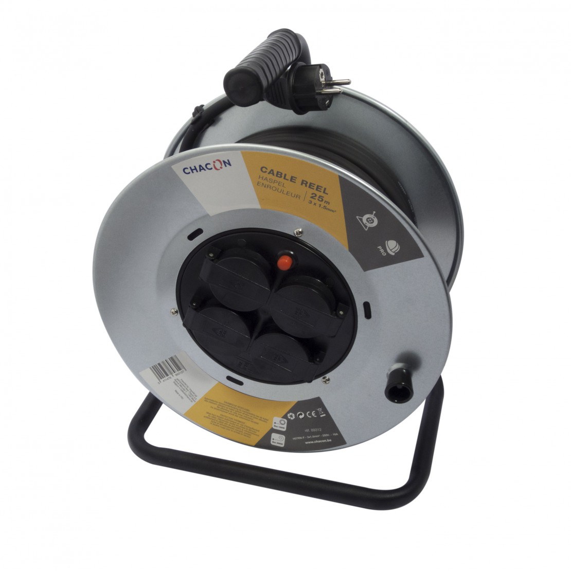Enrouleur 4x16A Aluminium HO7R N-F 3 x 2,5mm² - 25 m