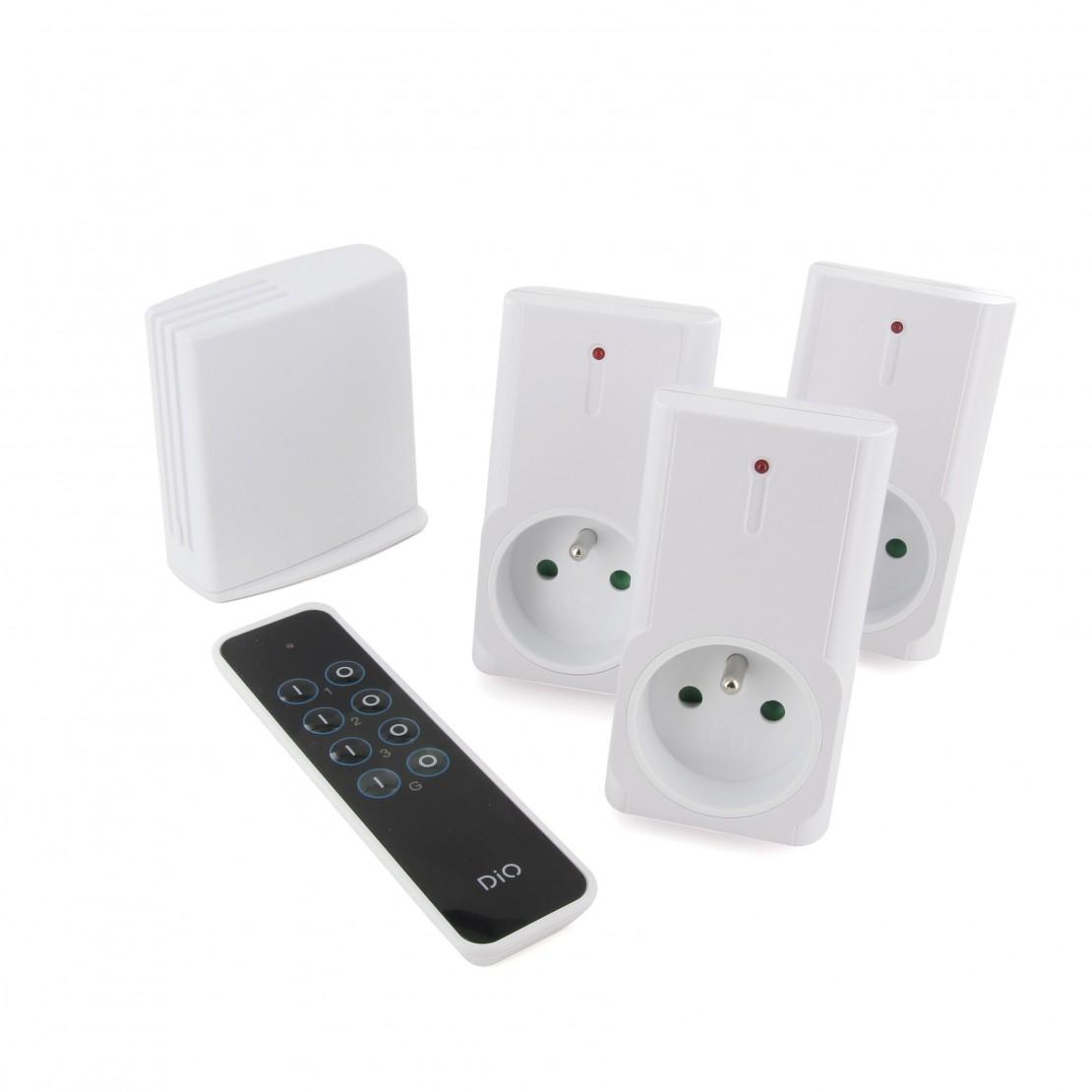 Conjunto de 3 tomadas On/Off, telecomando e LiteBox - programador Bluetooth